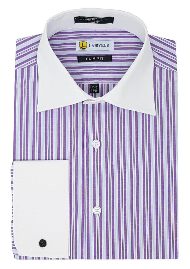 Labiyeur Slim Fit Purple Stripes White French Cuff Dress Shirt