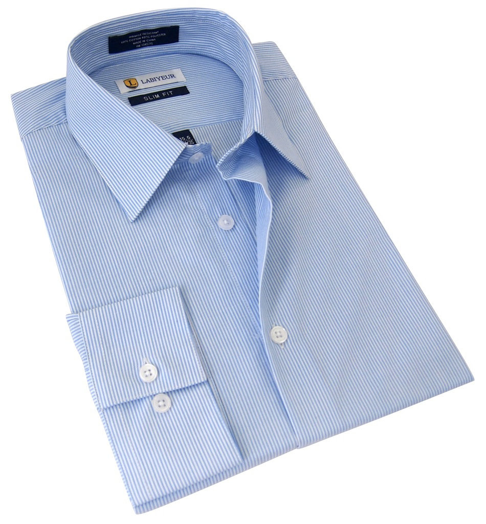 Labiyeur Slim Fit Blue White Fine Stripes Button Cuff Dress Shirt