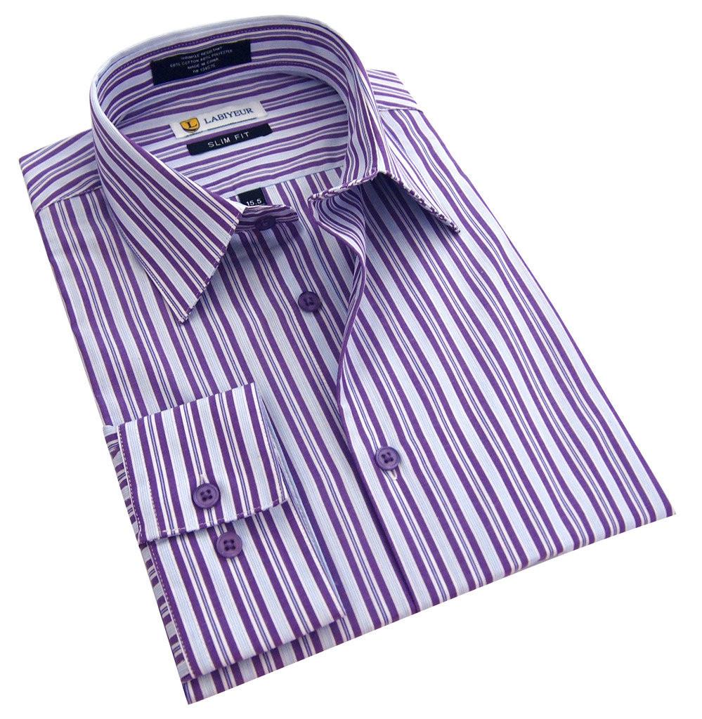 Labiyeur Slim Fit Purple Stripes White Button Cuff Dress Shirt