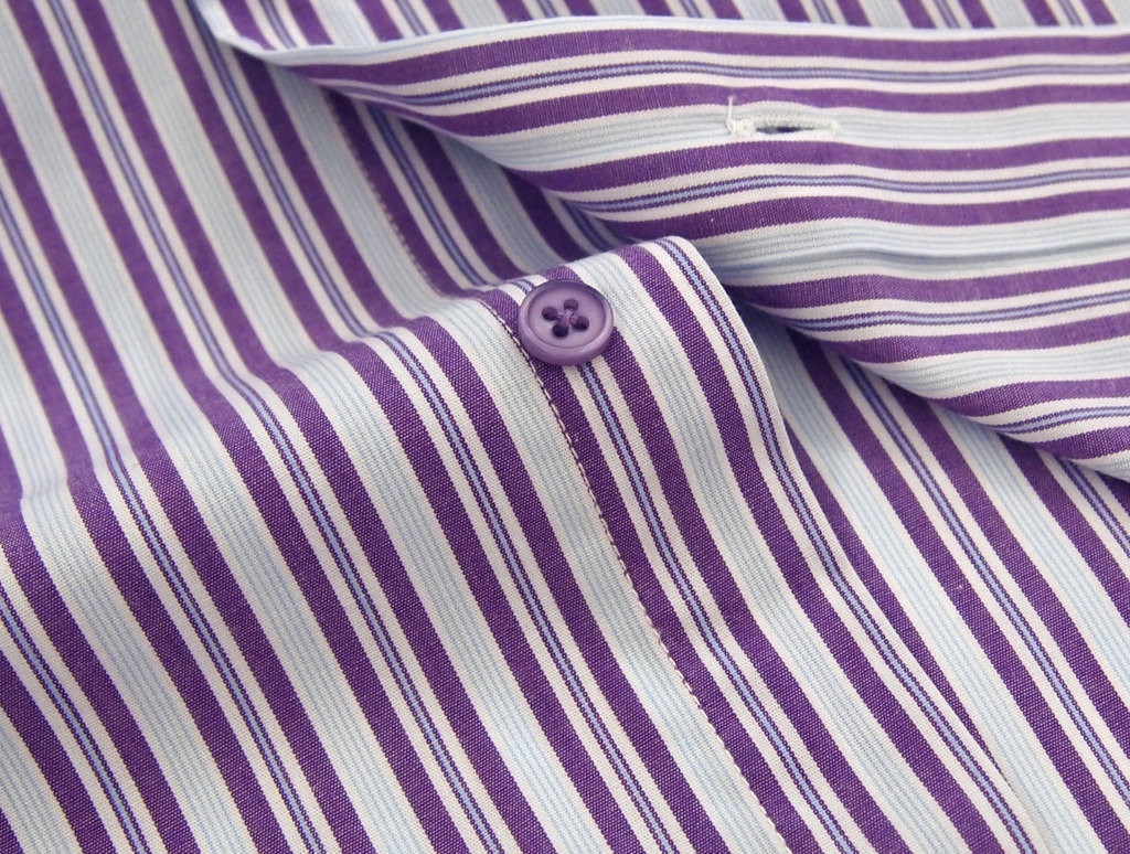 Labiyeur Slim Fit Purple Stripes White Button Cuff Dress Shirt