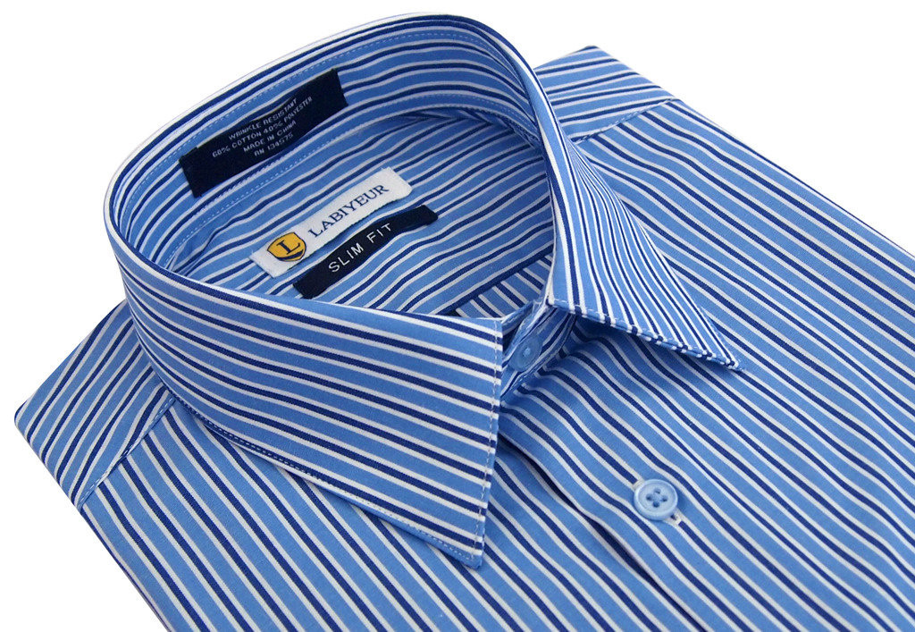 Labiyeur Slim Fit Double Blue White Stripes Button Cuff Dress Shirt