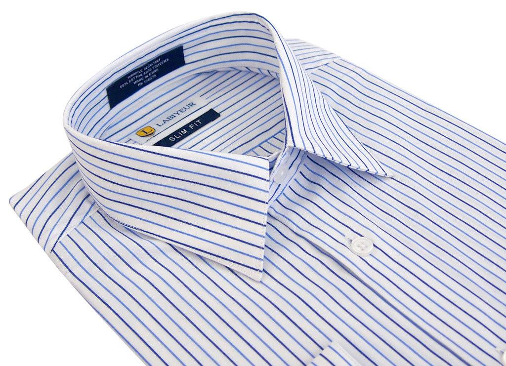 Labiyeur Slim Fit Blue Stripes on White Button Cuff Dress Shirt