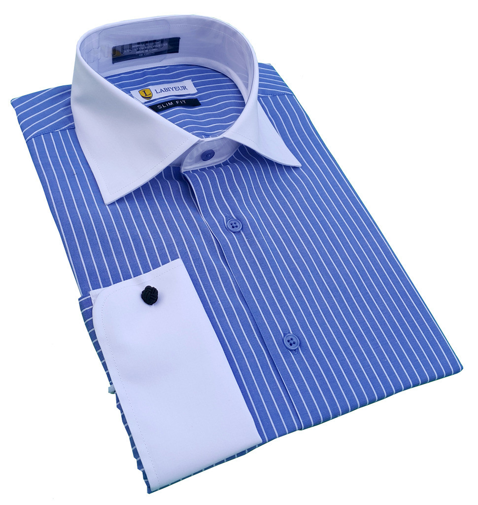 Labiyeur Men's Slim Fit French Cuff Striped Dress Shirt Blue/White Stripes