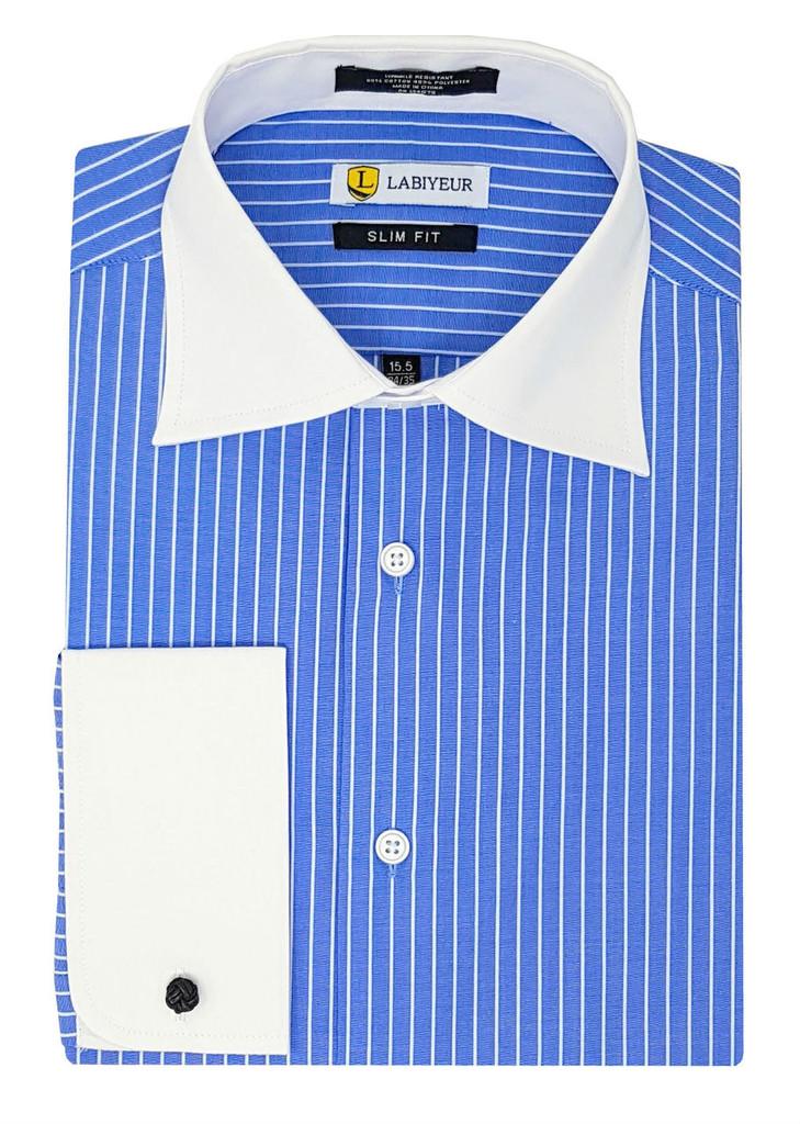Labiyeur Men's Slim Fit French Cuff Striped Dress Shirt Blue/White Stripes