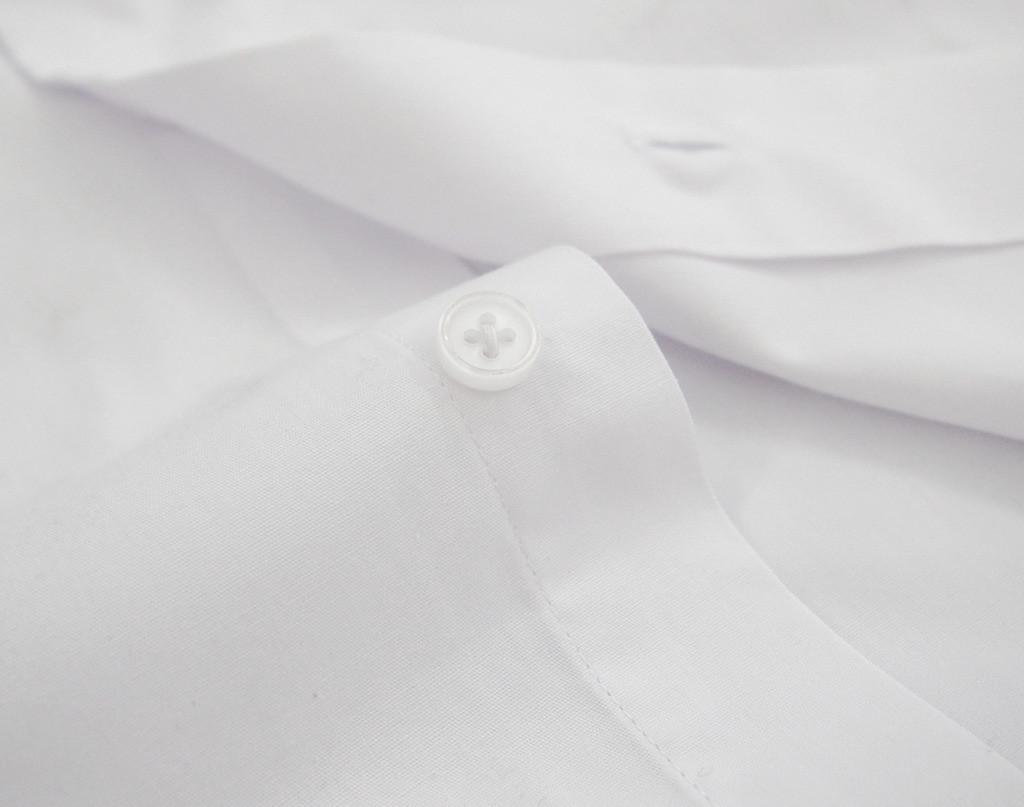 Labiyeur Men's Slim Fit French Cuff Poplin Cotton Blend Solid Dress Shirt White