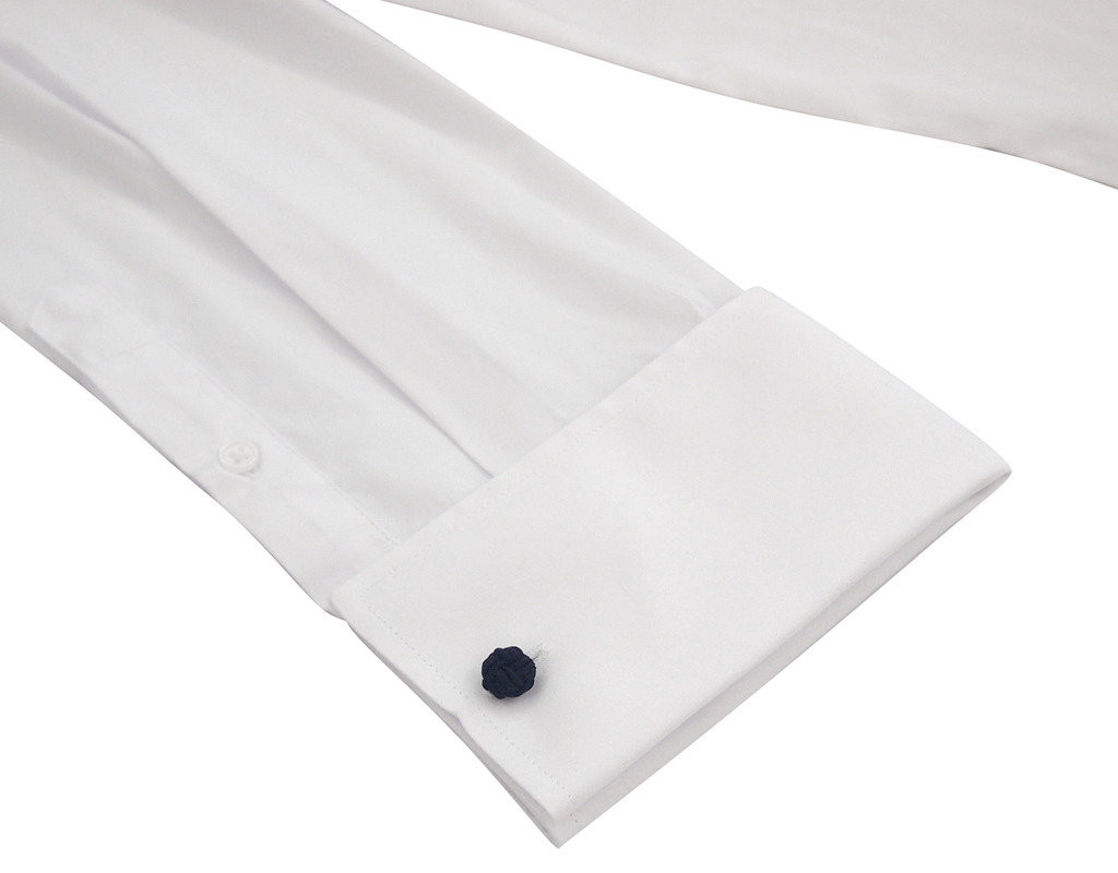 Labiyeur Men's Slim Fit French Cuff Poplin Cotton Blend Solid Dress Shirt White