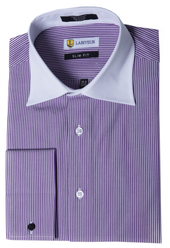 Labiyeur Men's Slim Fit French Cuff Striped Dress Shirt Purple/White