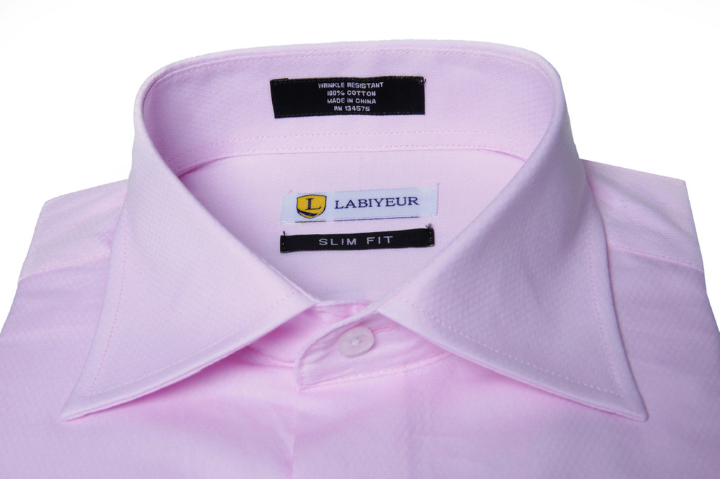 Labiyeur Men's Slim Fit French Cuff Textured Dress Shirt Pink