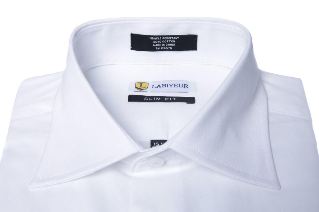 Labiyeur Men's Slim Fit French Cuff Textured Dress Shirt White