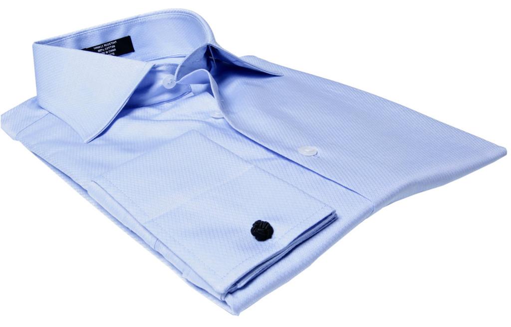 Labiyeur Men's Slim Fit French Cuff Textured Dress Shirt Blue