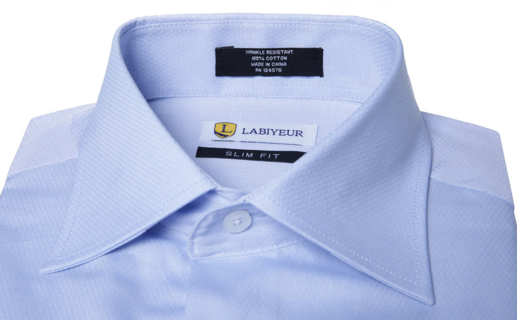 Labiyeur Men's Slim Fit French Cuff Textured Dress Shirt Blue