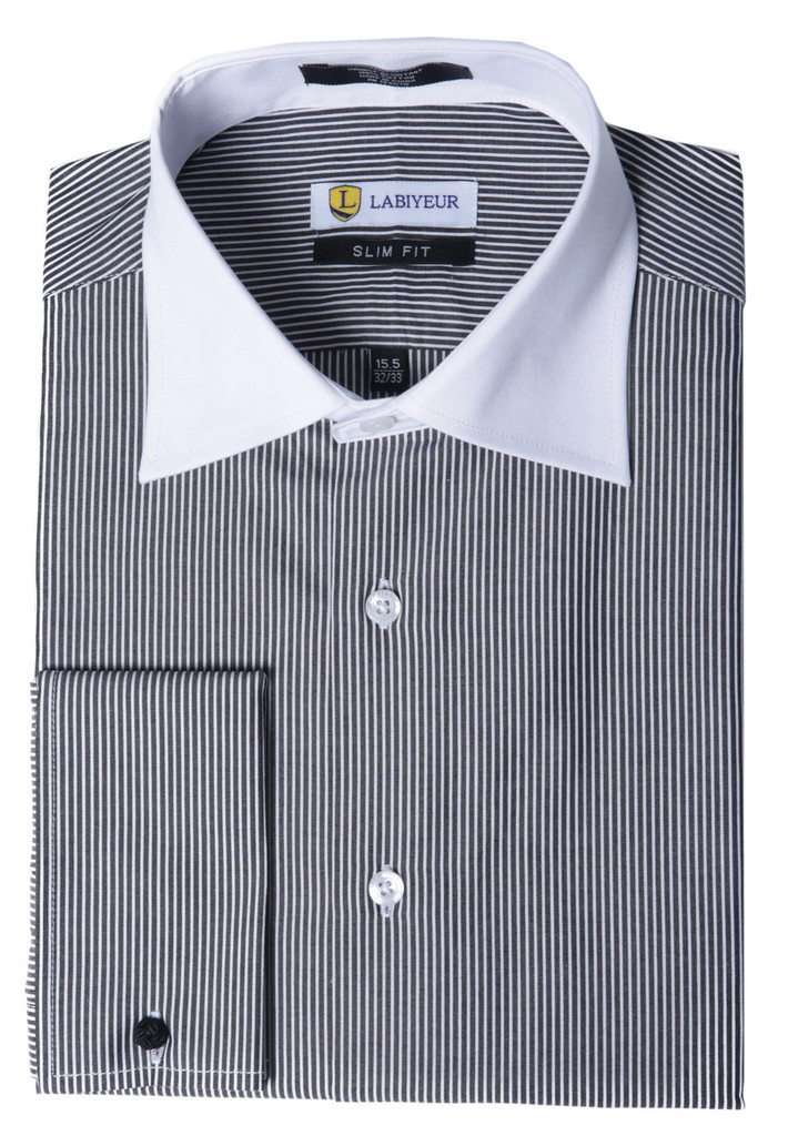 Labiyeur Men's Slim Fit French Cuff Striped Dress Shirt Black/White