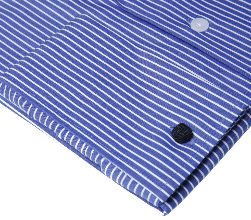 Labiyeur Men's Slim Fit French Cuff Striped Dress Shirt Blue/White