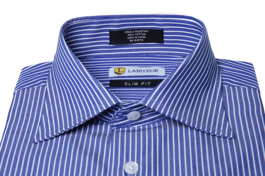 Labiyeur Men's Slim Fit French Cuff Striped Dress Shirt Blue/White