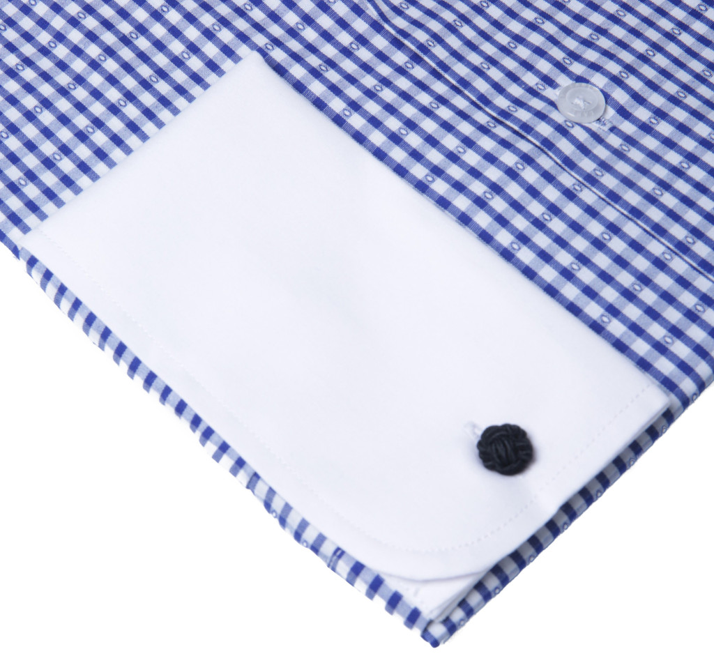 Labiyeur Men's Slim Fit French Cuff Checkered Dress Shirt Gingham Blue/white