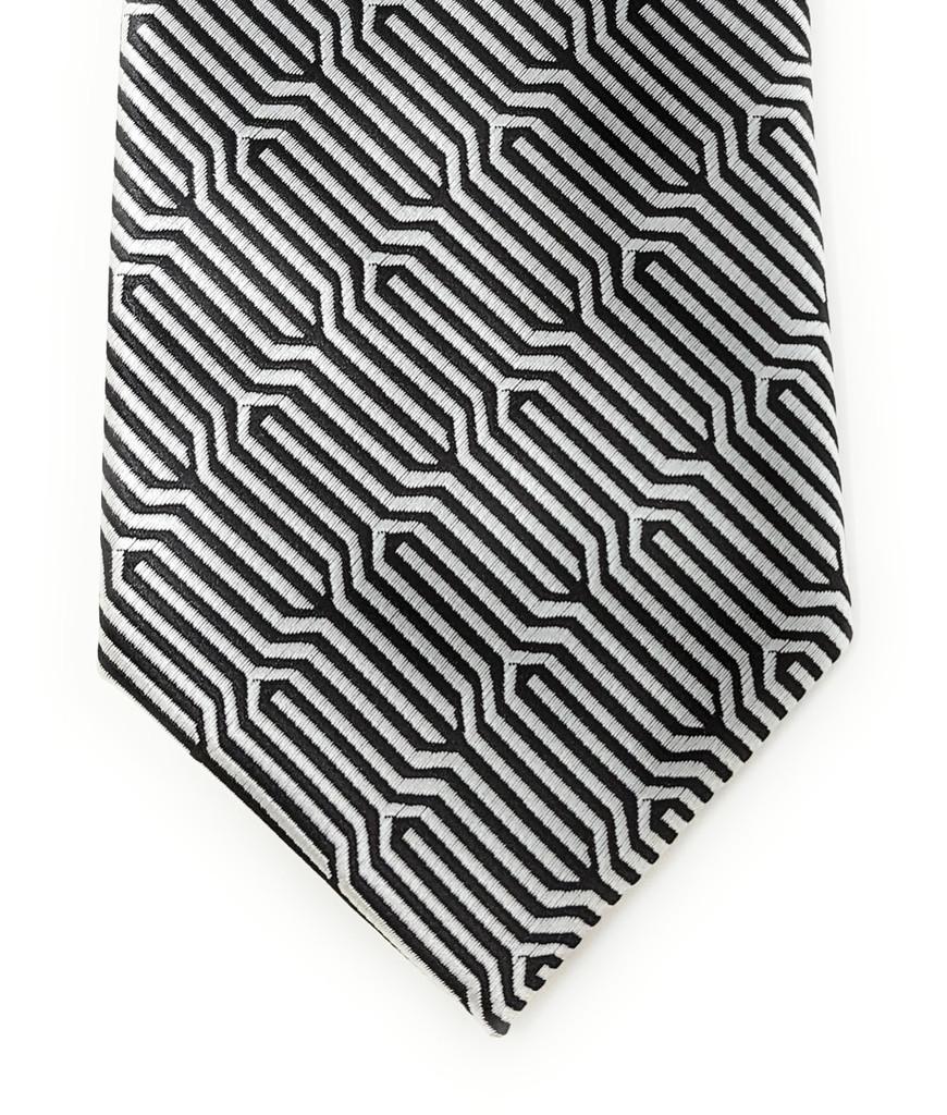 Labiyeur Geometric Ys Medium Men's Tie Necktie (Black/White-Silver Effect)