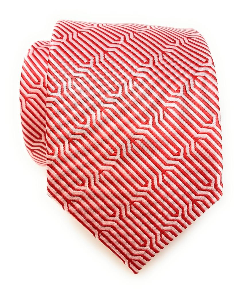 Labiyeur Geometric Ys Medium Men's Tie Necktie (Red/White)