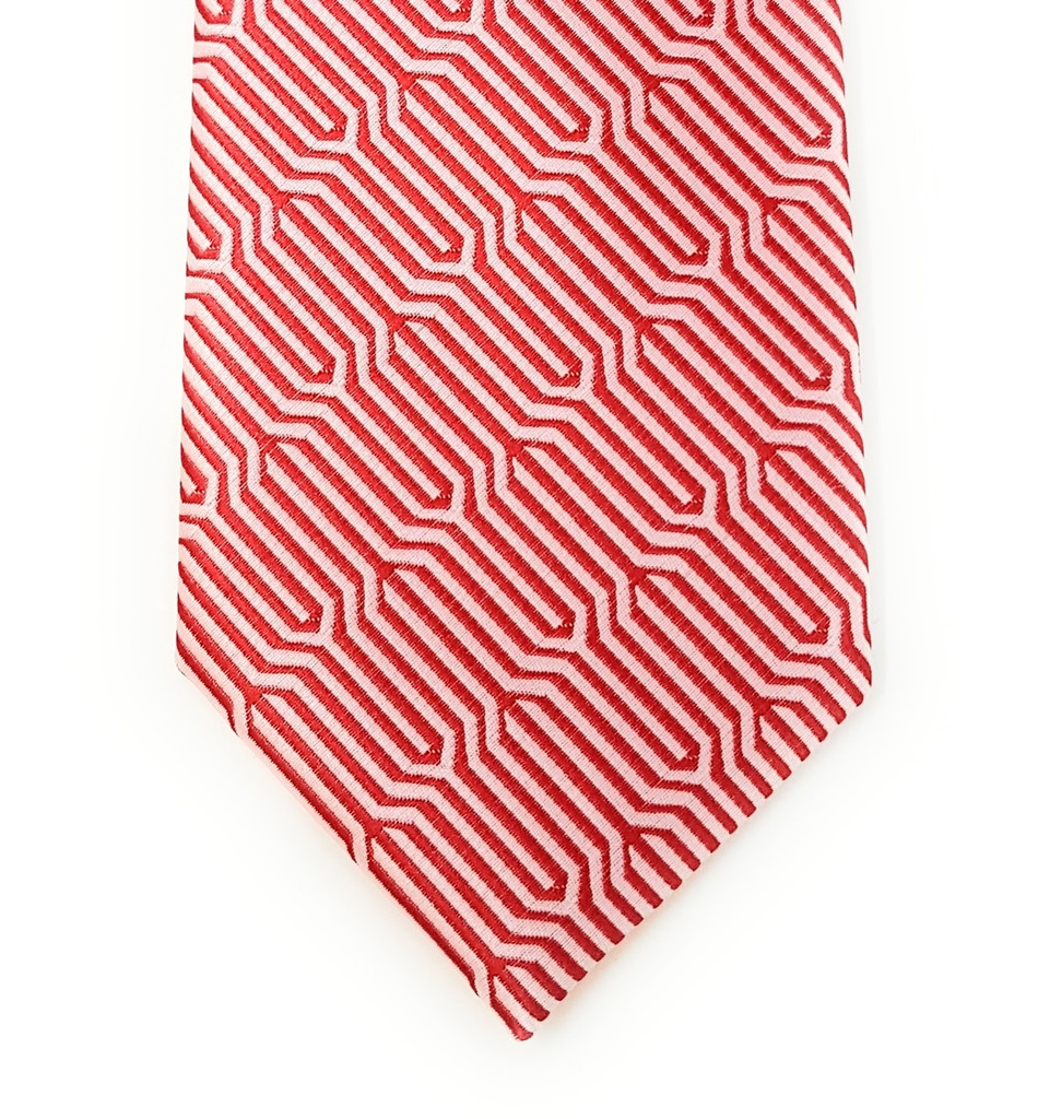 Labiyeur Geometric Ys Medium Men's Tie Necktie (Red/White)