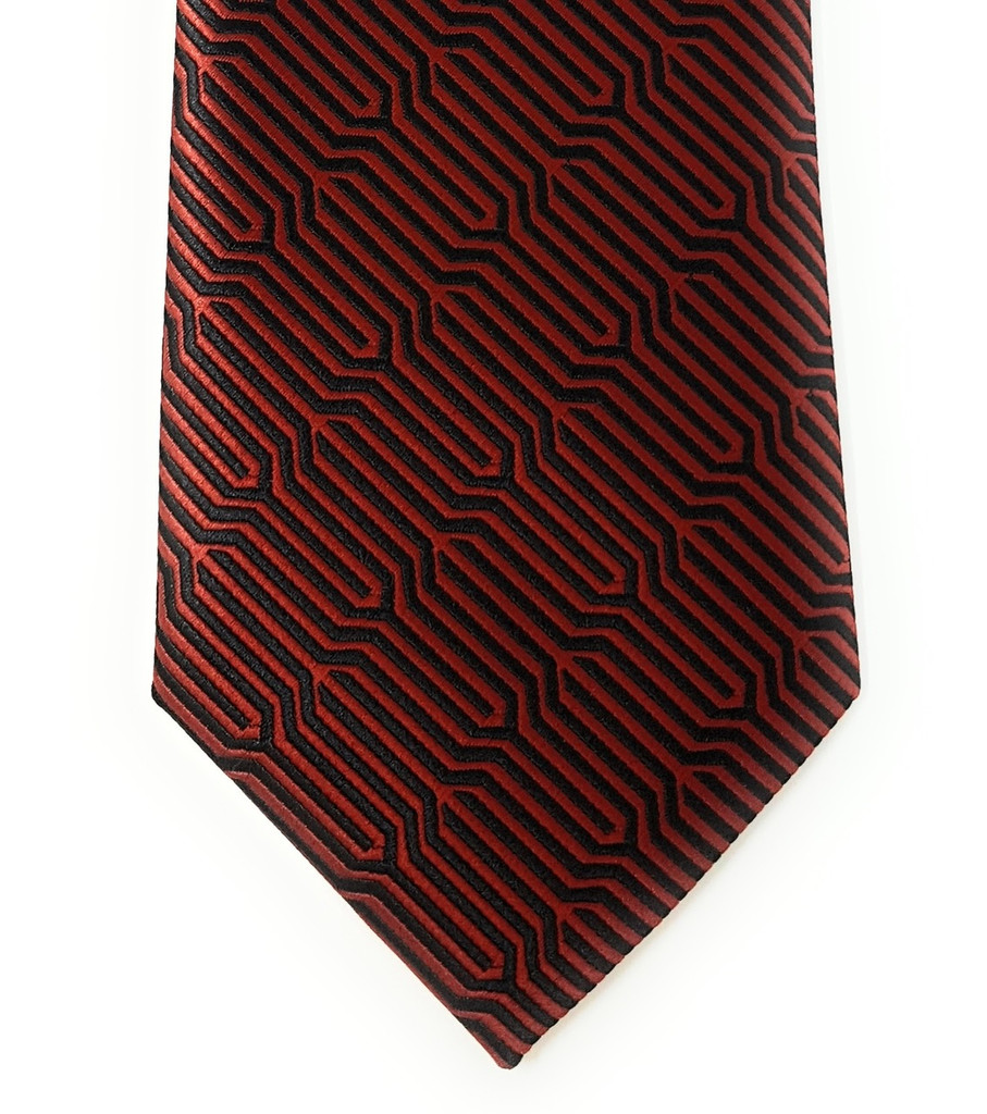 Labiyeur Geometric Ys Medium Men's Tie Necktie (Red/Black)