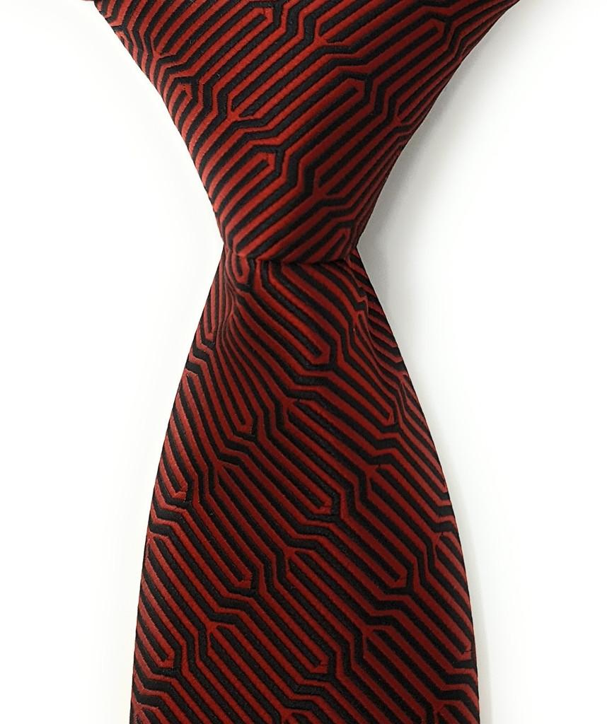 Labiyeur Geometric Ys Medium Men's Tie Necktie (Red/Black)
