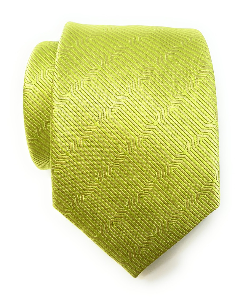 Labiyeur Geometric Ys Medium Men's Tie Necktie (Lime Green)