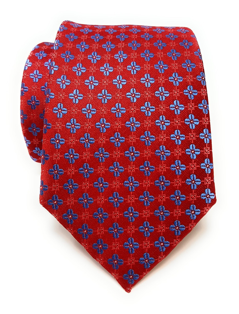 Labiyeur Men's Necktie: Fully Lined Woven Jacquard Slim Neck Tie Blue Quatrefoil on Red