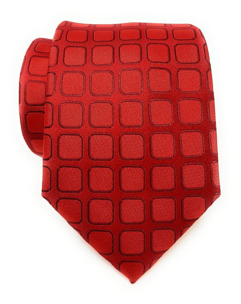 Labiyeur Men's Necktie: Fully Lined Woven Jacquard Slim Neck Tie Red Grid