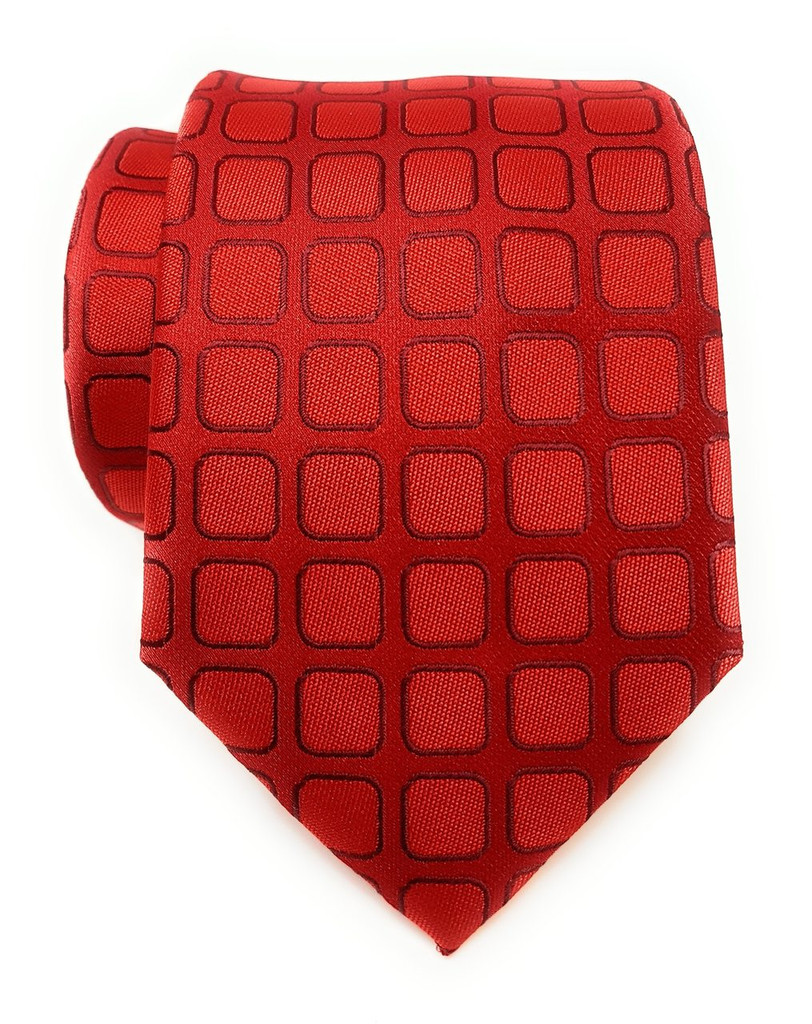Labiyeur Men's Necktie: Fully Lined Woven Jacquard Slim Neck Tie Red Grid