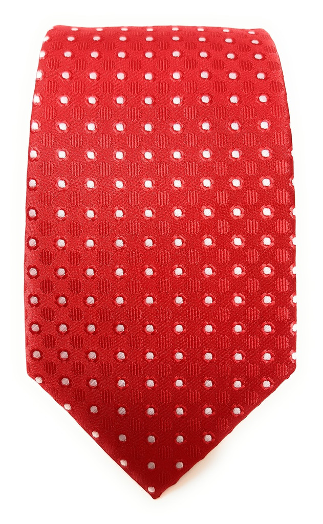 Labiyeur Men's Necktie: Fully Lined Woven Jacquard Slim Neck Tie Red Dotted