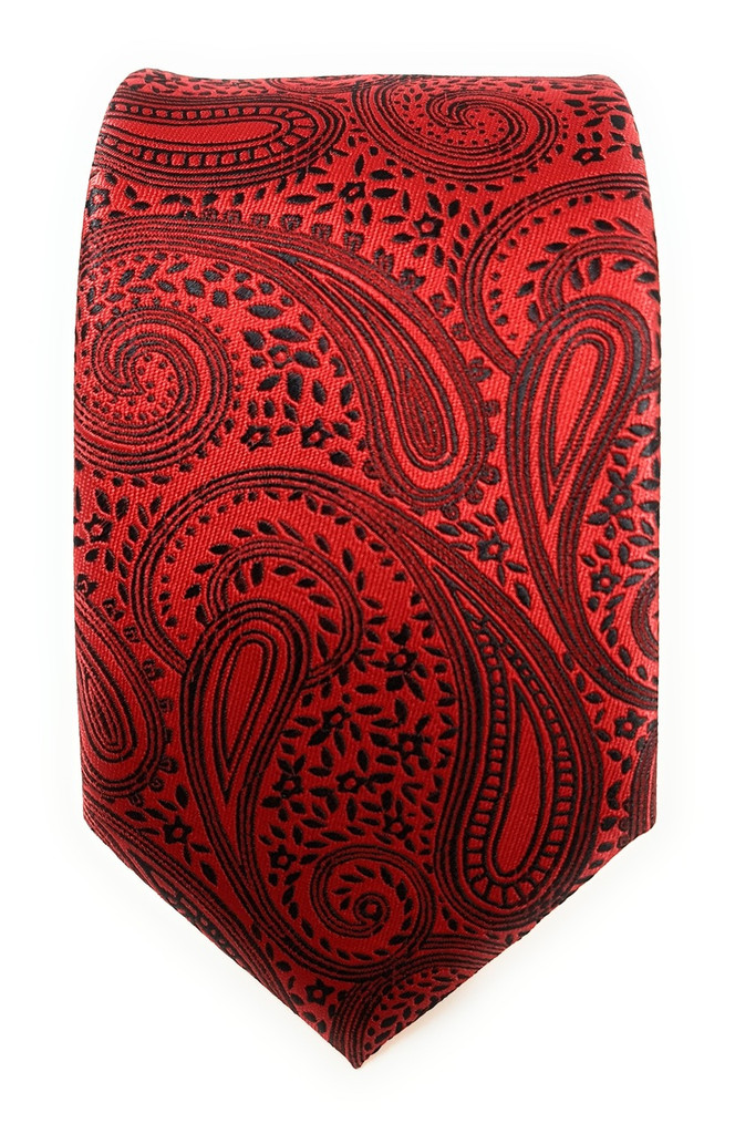 Labiyeur Men's Necktie: Fully Lined Woven Jacquard Slim Neck Tie Red Black Paisley Pattern