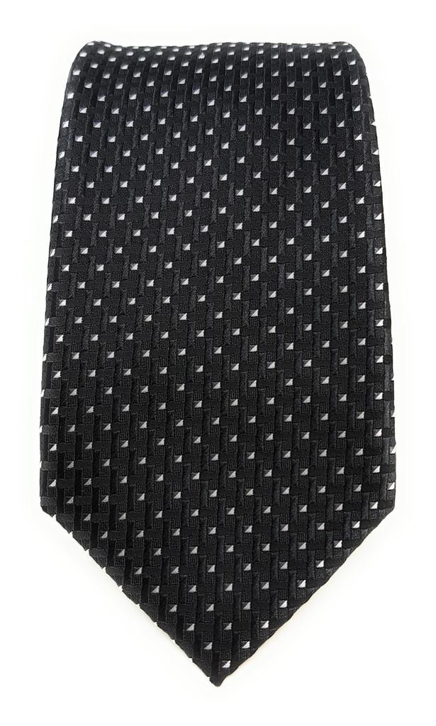 Labiyeur Men's Necktie: Fully Lined Woven Jacquard Slim Neck Tie Black Basketweave
