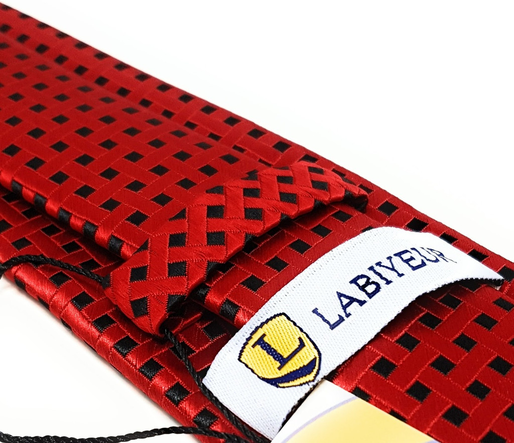 Labiyeur Men's Necktie: Fully Lined Woven Jacquard Slim Neck Tie Red Black Basketweave