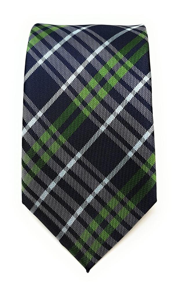 Labiyeur Men's Necktie: Fully Lined Woven Jacquard Slim Neck Tie Plaid Black Watch