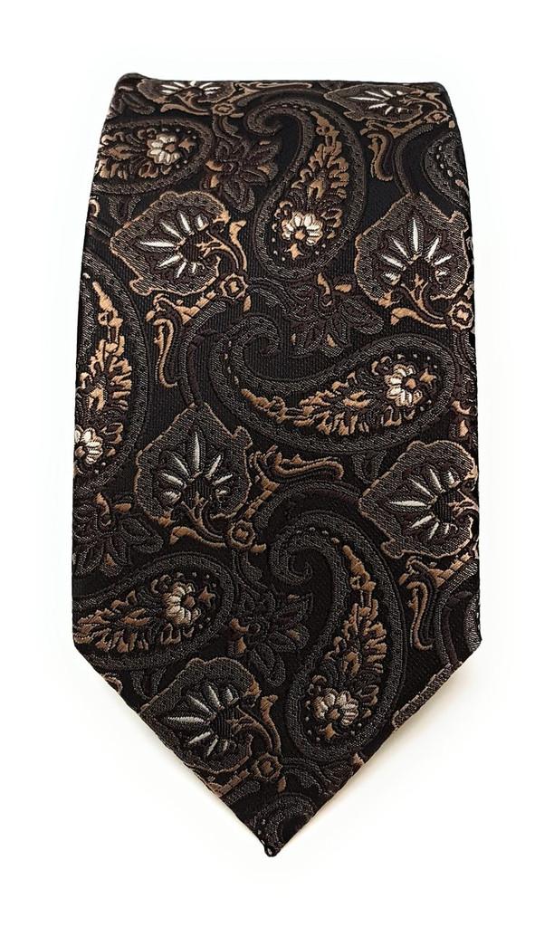 Labiyeur Men's Necktie: Fully Lined Woven Jacquard Slim Neck Tie Coffee Paisley