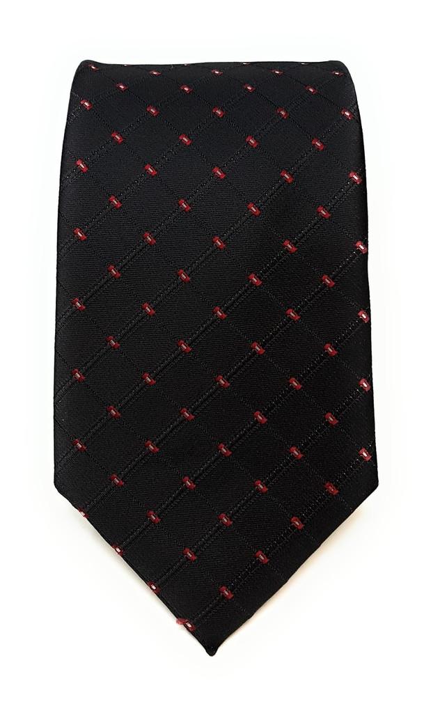Labiyeur Men's Necktie: Fully Lined Woven Jacquard Slim Neck Tie Black Dot Grid