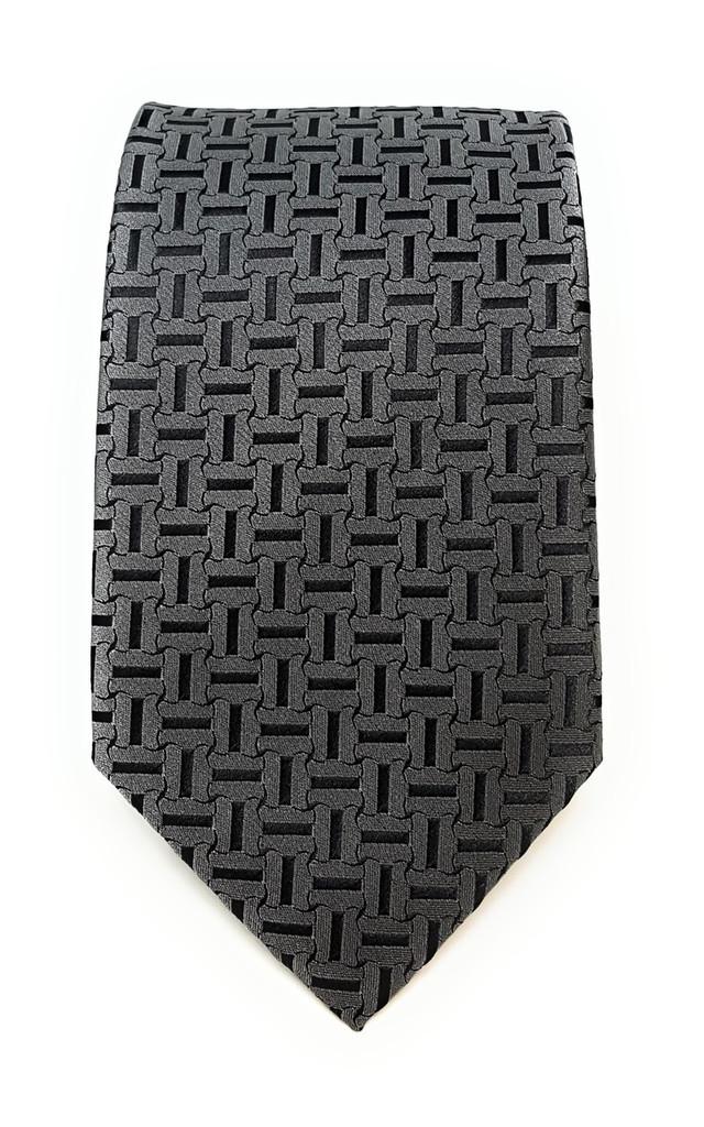 Labiyeur Men's Necktie: Fully Lined Woven Jacquard Slim Neck Tie Carbon Grey Basketweave