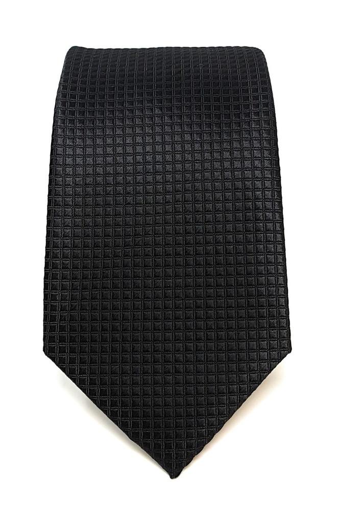 Labiyeur Men's Necktie: Fully Lined Woven Jacquard Slim Neck Tie Black Grid