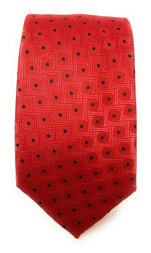 Labiyeur Men's Necktie: Fully Lined Woven Jacquard Slim Neck Tie Red Dots