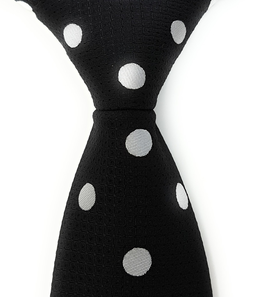 Labiyeur Men's Necktie: Fully Lined Woven Jacquard Slim Neck Tie Black Polka Dot