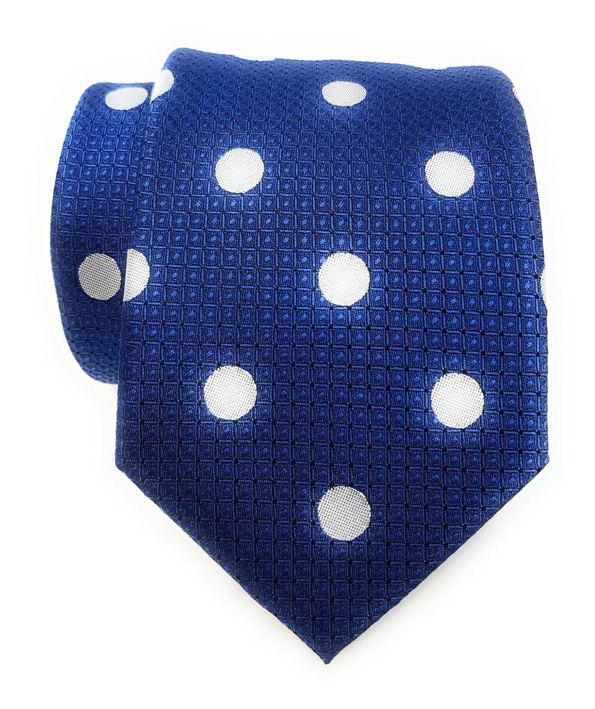 Labiyeur Men's Necktie: Fully Lined Woven Jacquard Slim Neck Tie Aegean Blue Polka Dot