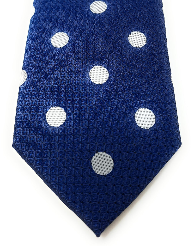 Labiyeur Men's Necktie: Fully Lined Woven Jacquard Slim Neck Tie Aegean Blue Polka Dot