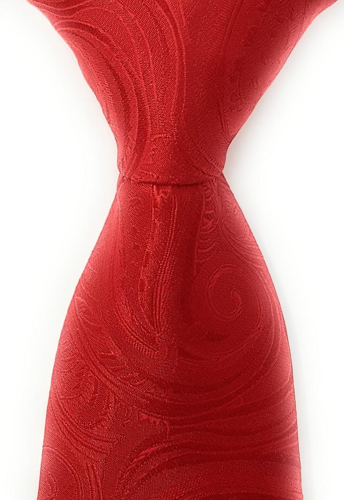 Labiyeur Men's Necktie: Fully Lined Woven Jacquard Slim Neck Tie Red Paisley
