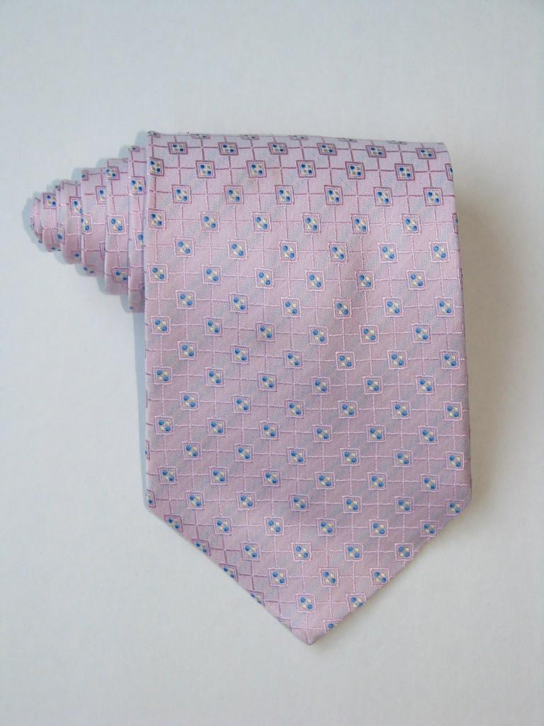 Multi Square Blue Dots Pink Tie