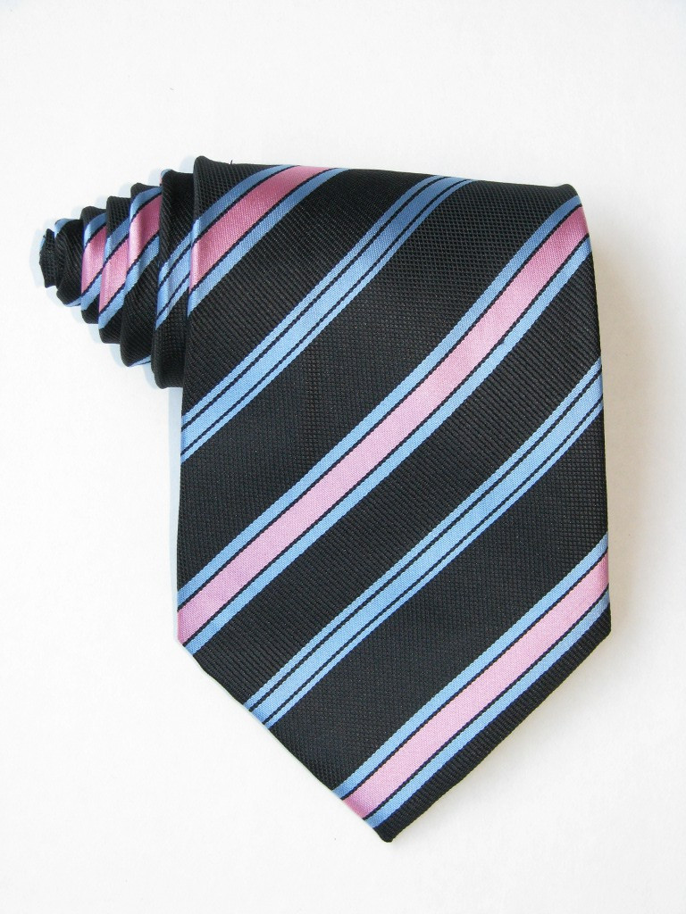 Pink And Sky Stripe Black Tie