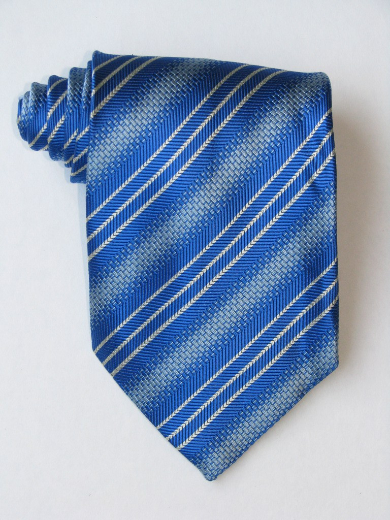 3 Versus1 White Stripe Blue Background Tie