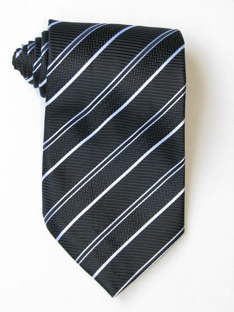 2 Versus1 White Stripe Black Background Tie