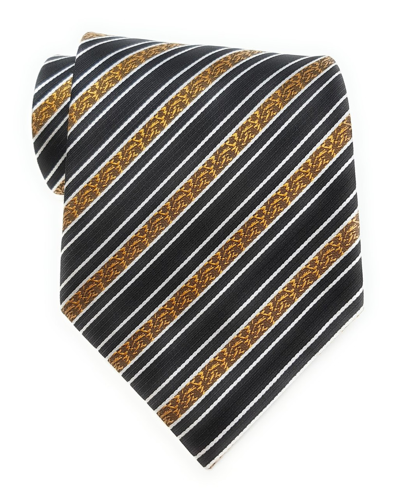 Labiyeur Golden Flowers Stripe Black Background Tie Necktie