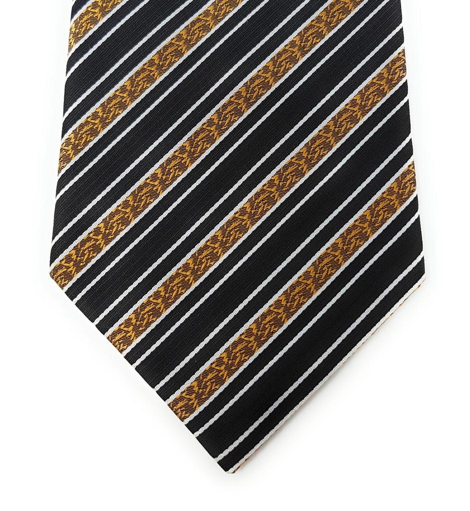 Labiyeur Golden Flowers Stripe Black Background Tie Necktie