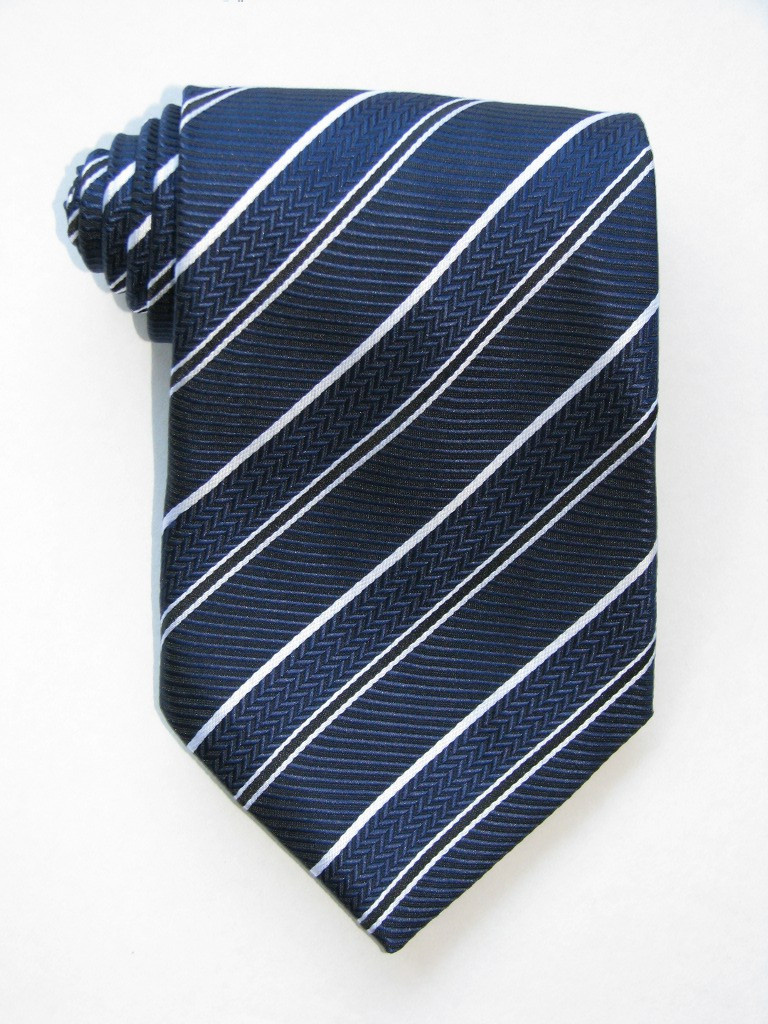 2 Versus1 White Stripe Navy Background Tie