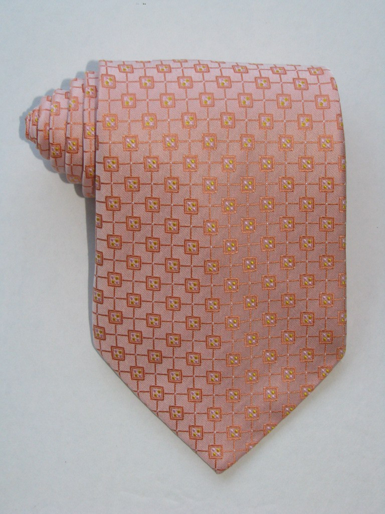 Multi Square Pink Dots Light Orange Tie